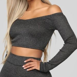 Charcoal Long Sleeve Crop Top